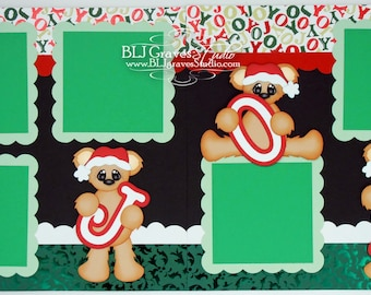 2 Premade Christmas Scrapbook Pages 12x12 Layout Paper Piecing Christmas Joy Bears Handmade 048