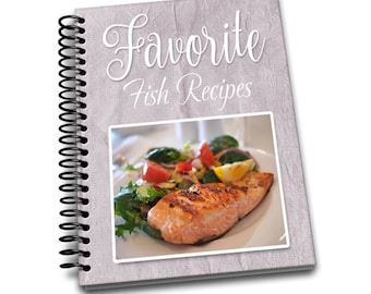 Favorite Fish Recipes | 8 x 10 | Spiral Bound Notebook | Recipes Blank Notebook