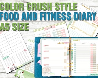 Food diary Fitness planner a5 size printable meal planner weight tracker workout log