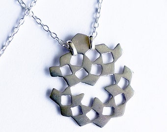 Mini Mashrabiya Necklace No 5. Modern Geometry. Sterling Silver Handmade Lace Necklace. Dainty Light Thin Layering Necklace. Recycled Silver