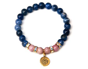 Sodalite bracelet, rhodochrosite bracelet, lotus bracelet, rhinestone bracelet, spiritual bracelet, yoga bracelet, healing bracelet