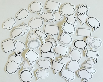 Speech Bubble Planner Stickers, Colouring Filofax Stickers, Diary Stickers, Card Embellishment, Fun Crafting Stickers, Scrapbooking Supplies