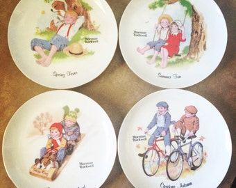 Vintage collectible 4 seasons plates by Norman Rockwell