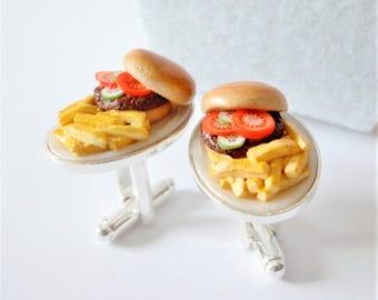 Burger Dinner with Fries Cufflinks - Delicious Cuff Links - Miniature Food Art Jewelry - Schickie Mickie Original 100% handmade
