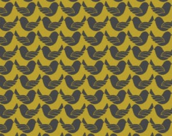 By The HALF YARD - Peace Garden by Fabric Freedom, Pattern #FF-FX4-14, Grey Doves on Yellow Gold