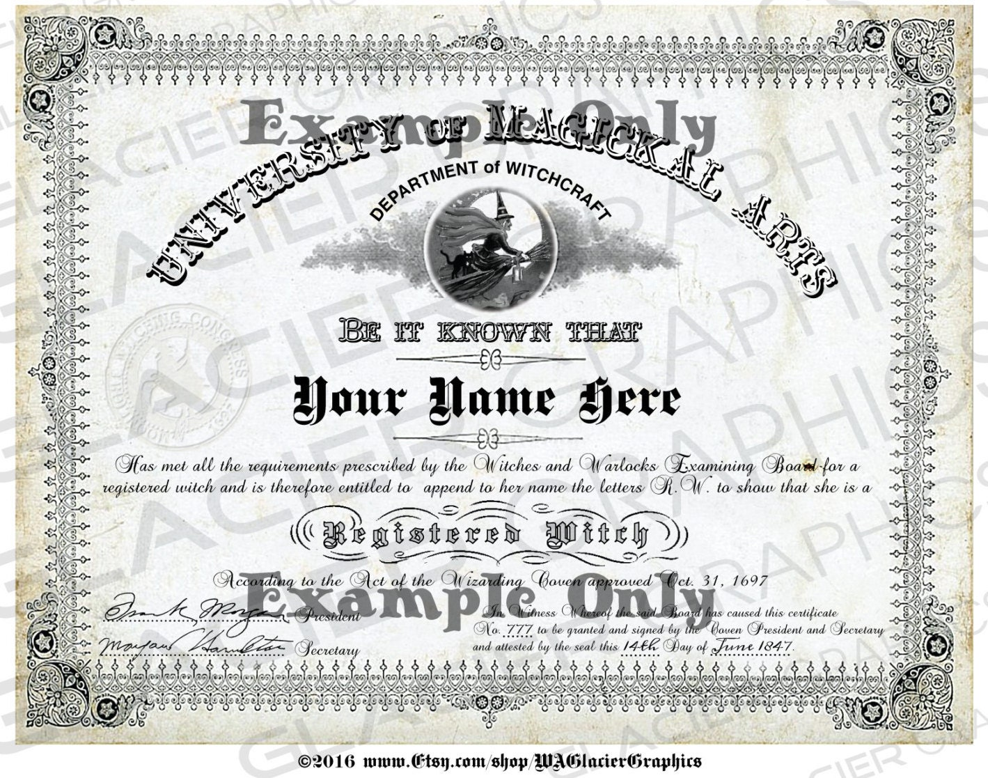 Blank Registered Witch Diploma YOU ADD TEXT Witch Diploma