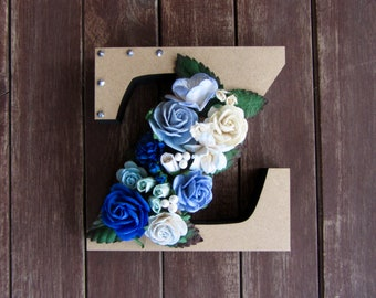 Floral Decorated Wooden Letter - lowercase z / wall nursery birthday wedding office decor