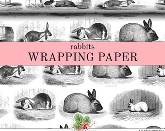 Rabbits Black And White Wrapping Paper   Custom Woodland Bunny Gift Wrap Paper 9 Foot Roll or 18 Foot Roll Great For Any Occasion.