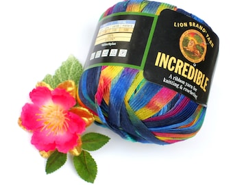 Lion Brand Incredible Rainbow Ribbon Yarn