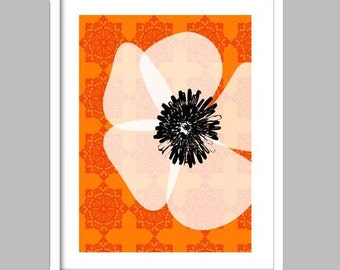 White Poppy - with damask background print, white poppy art