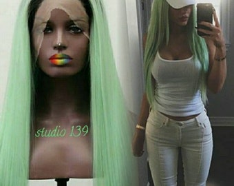 Green ombre dark roots lace front wig 24inches
