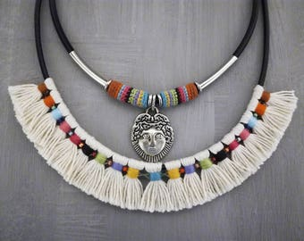 Indian Style Statement Necklace, Colorful Tribal Necklace, Aboriginal Tassel Necklace Face Pendant, Mexican Necklace