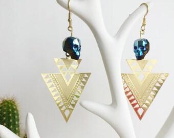 Earrings ethnic earrings with blue Swarovski skull earrings skull, skull jewelry, Swarovski Crystal, women gift