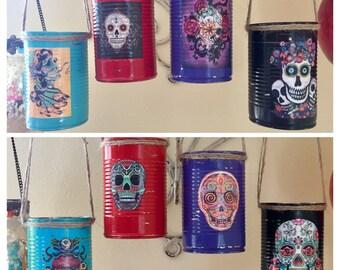 4 Day of the Dead Día de los Muerto Decorations Cans Vase Centerpiece Wedding Party Home Decor Sugar Skull Halloween Gothic Goth Mexican Art
