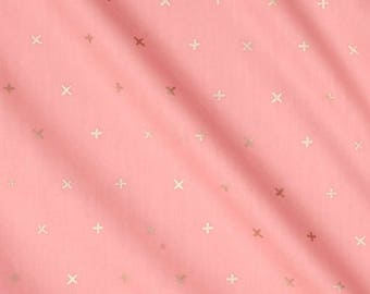 Baby bed skirt, crib skirt, gold X on pink