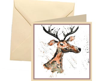 Stag greetings card, blank card, greetings card, birthday card, note card, thank you card, stag thank you card, stag card