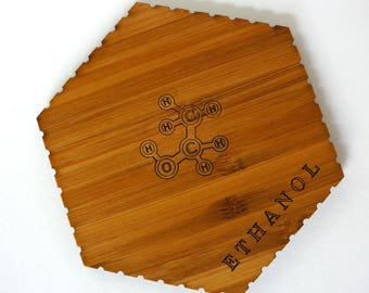 Ethanol (Drinking Alcohol) Molecule Chemistry Coasters - Set of 4