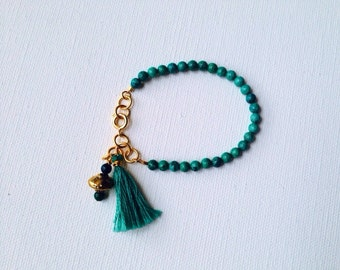 Emerald Green and Gold Beaded Boho Friendship Tassel Bracelet