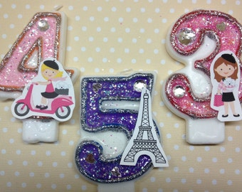 Paris, France, Eiffel Tower Birthday Party Number Candle