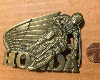 BBB Baron belt buckle Honda Solid brass 1980. Very good condition. Size ~85x60 mm