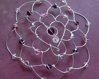 SOPHIA kippah, jewish woman yarmulke, silver color wire with heart center, swarovski crystals, bat mitzvah headpiece
