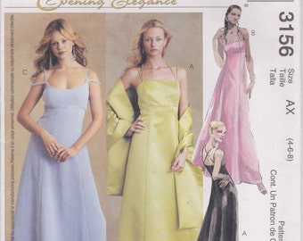 Formal Dress Evening Gown Prom Long Dress Size 4 - 8 Uncut McCalls 3156