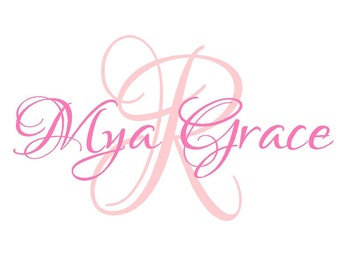 Monogram Wall Decal - Large Initial and Name Monogram Vinyl Decal - Wall StickerIN0039