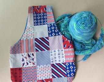 Small knitting project bag, wrist bag, over arm project bag, nautical print cotton fabric, knitters project bag, knitters gift bag.