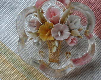 Reverse Carved Lucite Brooch REDUCED PRICE