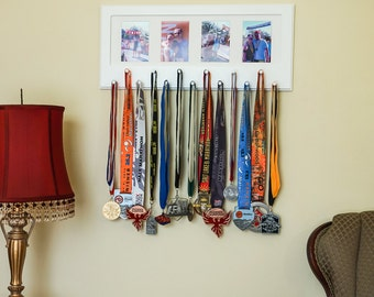 White Sport Medal display with photo frame. White mat.