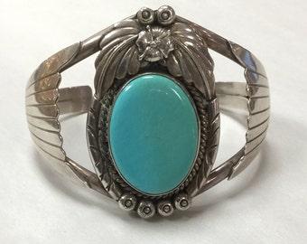 Sterling Silver 925 Carol Felley Turquoise Cuff Bracelet