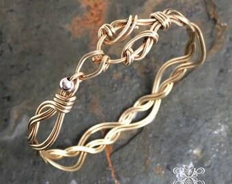 Art Nouveau Brass Cuff Bracelet, Wavy Cuff Bracelet, Brass Woven Wire Bracelet, Oxidised Brass Cuff Bracelet, Art Nouveau Bangle