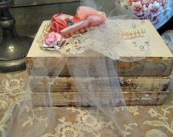 Altered Book Stack - French Country Decor - Altered Books - Shelf Sitter - Book Props - Book Set - Shabby Romantic Books