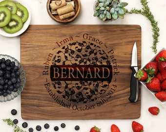 Personalized Cutting Board, Custom Engraved Cutting Board, Family Name Floral Housewarming Anniversary Wedding, Walnut Wood --6191