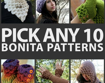 CROCHET PATTERN: Any Combination of 10 Bonita Patterns (Bundle) - Permission to Sell Finished Product