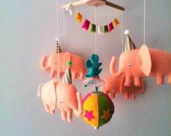 Baby mobile elephant, Mobile gift, Elephant and mouse handmade mobile, Nursery decor mobile,Circus mobile, Felt baby mobile,elephant nursery