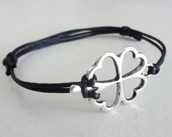 Four Leaf Clover Bracelet, Shamrock Anklet, Silver Bracelet, Ireland, Irish Jewelry, Saint Patricks Day, BFF, Best Friend, Couples Gift