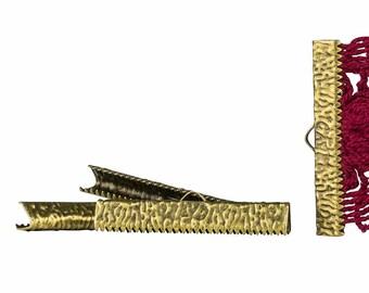 150 pieces  35mm (1 3/8 inch)  Antique Bronze Ribbon Clamp End Crimps - Artisan Series