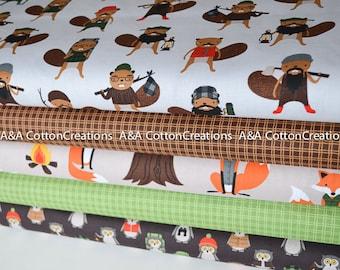 Campsite Critters Quilting Cotton, Bundle of 5, Hipster fabric, Brown Green Fabric, Boy Fabric, Animal Fabric, Robert Kaufman Fabrics