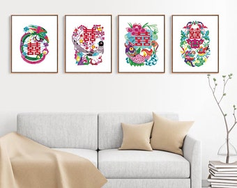 Chinese Paper Cutting Wedding Happiness set of 4, Chinoiserie design inspiration, craft, card, scrapbook, Wall Art, INSTANT DOWNLOAD
