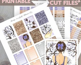 Cotton Flowers Sticker kit,Erin Condren,Printable Stickers,Watercolor Floral,Watercolor Stickers,Cotton Stickers,Floral Stickers,ECLP