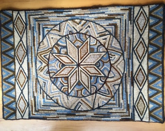Eight-Pointed Star hooked rug