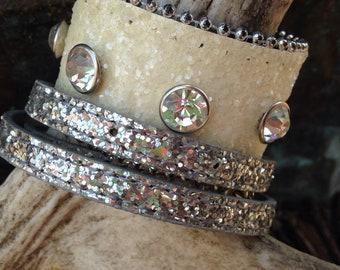 Sparkly bracelet stack.