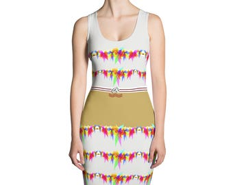 Yogi & Pie Summer Tiered Ruffle Dress Print Off White Gold