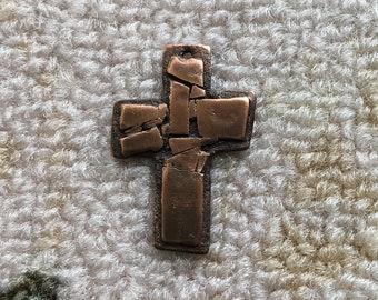 Copper Mosaic Cross Pendant #89