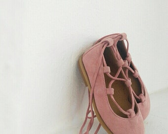 Little ballerinas lace up pink shoes for little girl / handmade/ leather shoe / made in Greece by aelia