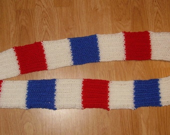 Hand knit Scarf - Red, White & Blue
