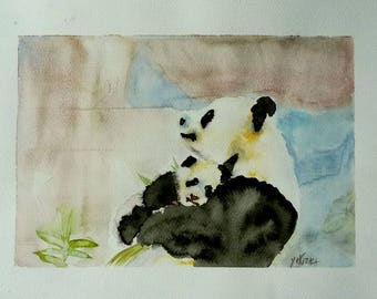 Pandas, a mother and her baby