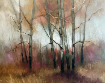 """Tonalist Landscape Painting Birch Trees Original OIL Painting by CES -  Trees Autumn Forest Impressionist BirchTree Purple Pink ART 16x12"""""""