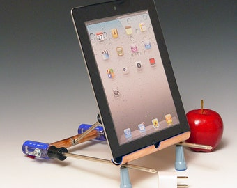 iPad stand with USB wall charger. Handmade from repurposed tools. Functional desk art. Gift for guys. FAST SHIPPING. 189